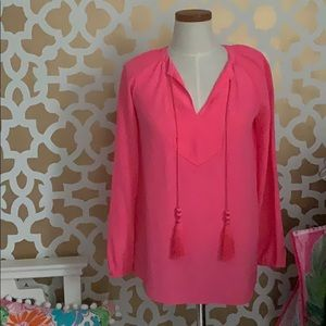 Lilly Pulitzer Pink Silk Blouse with tassels XS
